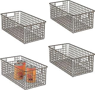 mDesign panier de rangement tout usage (lot de 4) – corbeille de rangement flexible pour la cuisine, le cellier, etc. – pa...