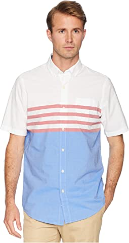 Short Sleeve Color Blocked Woven Shirt