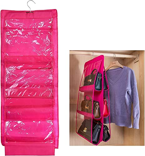 6 Pockets Hanging Closet Organizer Clear Easy Accees Anti dust Cover Handbag Purse Holder Storage Bag Collection Shoes Clothes Space Saver Bag with a Hanging Hook