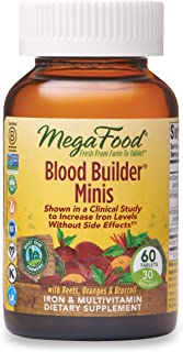 MegaFood, Blood Builder Minis, Daily Iron Supplement and Multivitamin, Supports Energy and Red Blood Cell Production Without Nausea or Constipation, Gluten-Free, Vegan, 60 Tablets (30 Servings)