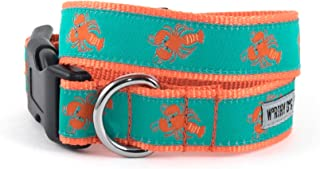 The Worthy Dog Red Lobsters Pattern Designer Adjustable and Comfortable Nylon Webbing, Side Release Buckle Collar for Dogs - Fits Small, Medium and Large Dogs, Teal Color
