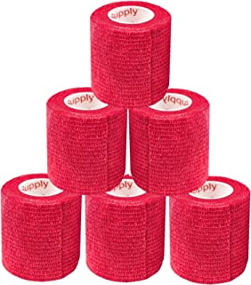 2 Inch Vet Wrap Tape Bulk (Assorted Colors) (6, 12, 18, or 24 Packs) Self-Adhesive Self Adherent Adhering Flex Bandage Rap Grip Roll for Dog Cat Pet Horse