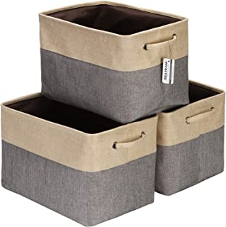 Sea Team 3-Pack Large Storage Basket Set, Trunk Organizer, Clothes Toys Bin, 15 x 10 x 10 Inches, Big Rectangular Canvas F...