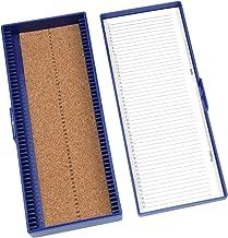 "Heathrow Scientific HD15996A Blue Cork Lined 50 Place Microscope Slide Box, 8.3"" Length x 3.38"" Width x 1.25"" Height"