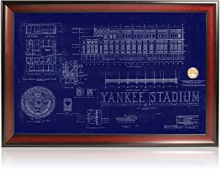 Steiner Sports MLB New York Yankees Framed Replica Old Yankee Stadium Blueprint with Dirt Capsule