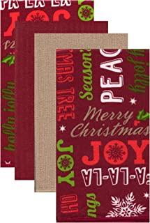 Kane Home Microfiber Cleaning Towels Perfect for Kitchens, Dishes, Car, Dusting, Drying Rags, 16 x 19, Set of 4 (Season's Greetings)