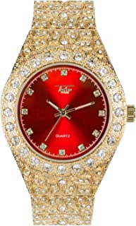 Men's Iced Out Gold Watch with Simulated Diamonds and Nugget Style Hip Hop Band - Red Dial