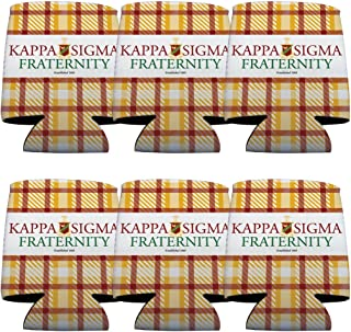 VictoryStore Can and Beverage Coolers - Kappa Sigma, Plaid Design, Set of 6