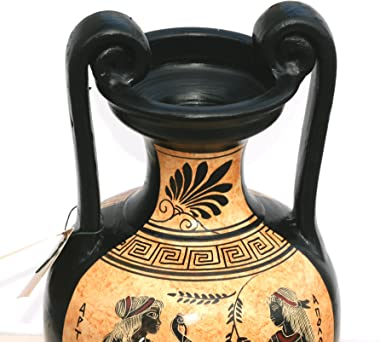 Greek Ceramic Amphora Jar Vase Pot Painting Goddess Artemis God Apollo
