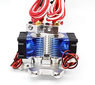 Wangdd22 3D Printer J-Head Dual V6 Head Extruder Hotend with 0.4mm Nozzle 12V Cooling Fan and M4 Fisheye Effector Hanging Station for 1.75mm Filament