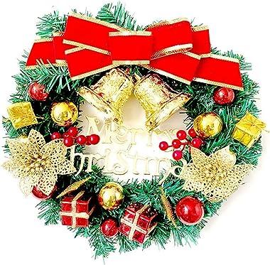 Deco Noël Exterieur 30cm de Noël Guirlande de Noël Grande Couronne Porte Décoration Murale Guirlande de Noël Décoration (Colo
