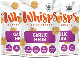 Whisps Garlic Herb Parmesan Cheese Crisps | Back to School Snack, Keto Snack, Gluten Free, Zero Sugar, Low Carb, High Prot...