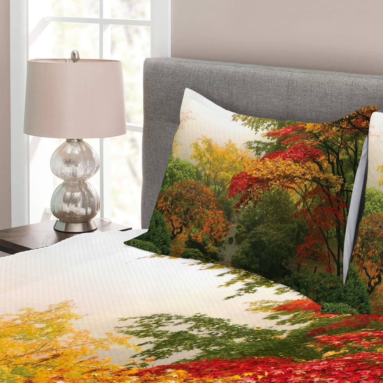 Portland Japon Garden Rouge Jaune Vert 170 x 220 cm Lavable sans d/écoloration des Couleurs ABAKUHAUS Jardin Couvre-Lit