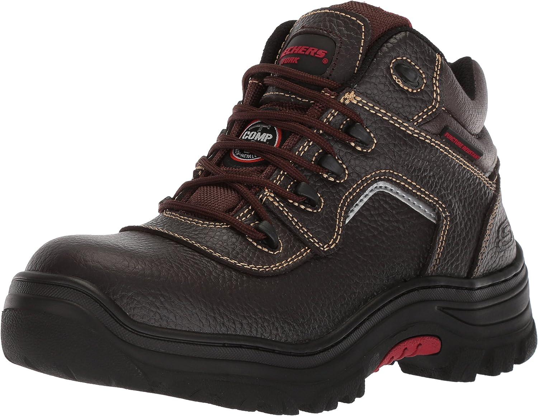 Skechers for Work Men's Burgin-Sosder Industrial Boot,Brown Embossed Leather,9.5 M US