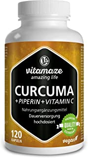 Vitamaze® Cápsulas de Cúrcuma + Curcumina Piperina + Vitamina C, 120 Cápsulas Veganas Altamente Biodisponible, 95% Natural Pura Extracto Curcumina, Suplemento sin Aditivos Innecesarios