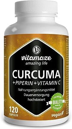 Vitamaze Curcuma + Curcumina Piperina ad alto dosaggio + Vitamina C in capsule, 120 capsule vegan, prodotto di qualità tedesca! Confezione unica (1 x 105,6 g)