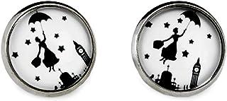 Miss Lovie - Orecchini da donna motivo Mary Poppins con cabochon, 12 mm, bigiotteria, colore argento/nero/bianco