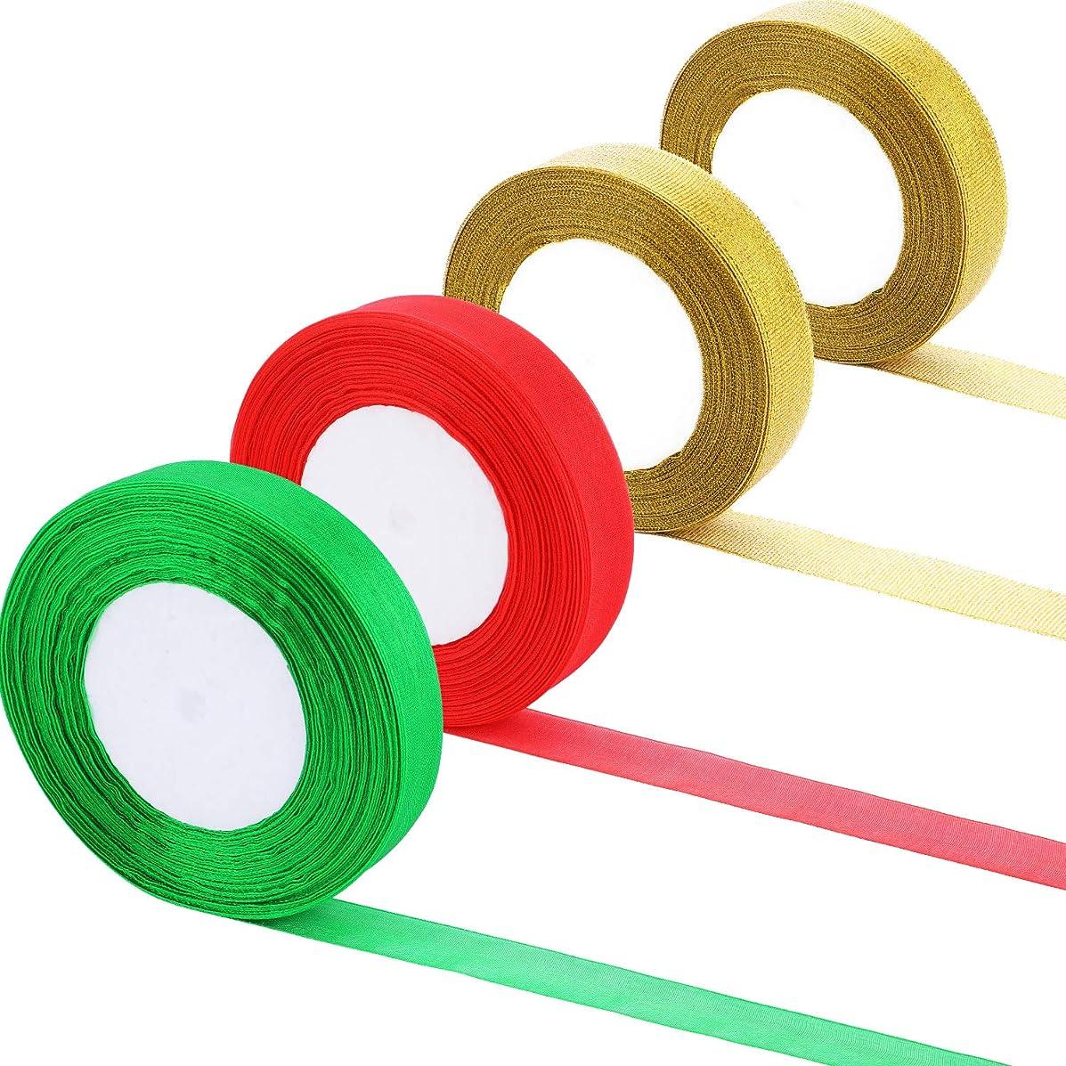 Patelai 4 Rolls 150 Yards Total 22 mm Wide Shimmer Sheer Organza Ribbons Shiny Organza Ribbon for Christmas DIY Decoration, 3 Colors