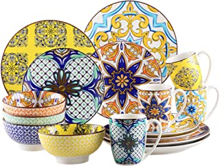 vancasso, Série Jasmin, Service de Table Complet en Porcelaine, 16 Pièces, Assiette Plate, Assiette à Dessert, Bols, Tasse...