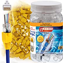ITBEBE 100-Pieces RJ45 Cat6 Pass Through Connectors and 100-Pack Yellow Strain Relief Boots