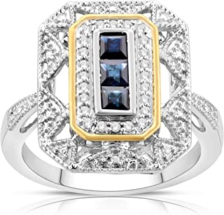 b109aa11e4a362 NATALIA DRAKE Sterling Silver and 14K Gold Plated Vintage Art Deco Genuine  Blue Sapphire and Diamond