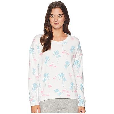 P.J. Salvage Tropicana Flamingo Sweatshirt (White) Women