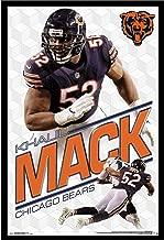 Khalil Mack Chicago Bears Wall Art Decor Framed Print | 24x36 Premium (Canvas/Painting Like) Textured Poster | NFL Football Team Man Cave Photo | Bear Memorabilia Fan Gifts for Guys & Girls Bedroom