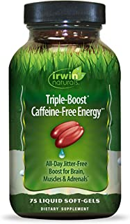 Irwin Naturals Triple-Boost Caffeine-Free Energy - Lasting, Jitter-Free Focus - Brain Boosting Nootropic - 75 Liquid Softgels