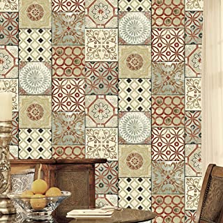 JZ·HOME 3111 Moroccan Style Mosaic Wallpaper Rolls, Red/Green/Khaki Vinyl Tile Wallpaper Kitchen Livingroom Bathroom Bedroom Hotels Wall Decoration 20.8