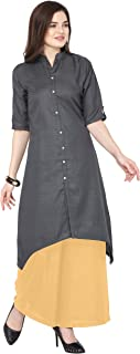 Florence Grey Slub Cotton Embellished Stitched Kurtis with Palazzo(FL-KT-130-PZ-16)