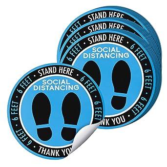 Social Distancing Floor Decals 30-Piece Social Distance Floor Stickers 8 Inches Diameter 6 Feet Apart Floor Stickers Blue