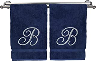 Monogrammed Hand Towel, Personalized Gift, 16 x 30 Inches - Set of 2 - Silver Embroidered Towel - Extra Absorbent 100% Turkish Cotton- Soft Terry Finish - for Bathroom, Kitchen and Spa- Script B Navy
