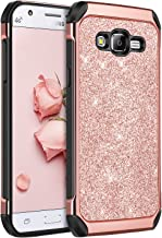 Galaxy J7 Case 2015, J700 Case,BENTOBEN Shockproof Luxury Glitter Bling Slim 2 in 1 Hybrid Hard Cover with Sparkly Shiny Faux Leather Protective Phone Case for Samsung Galaxy J7 J700 (2015),Rose Gold