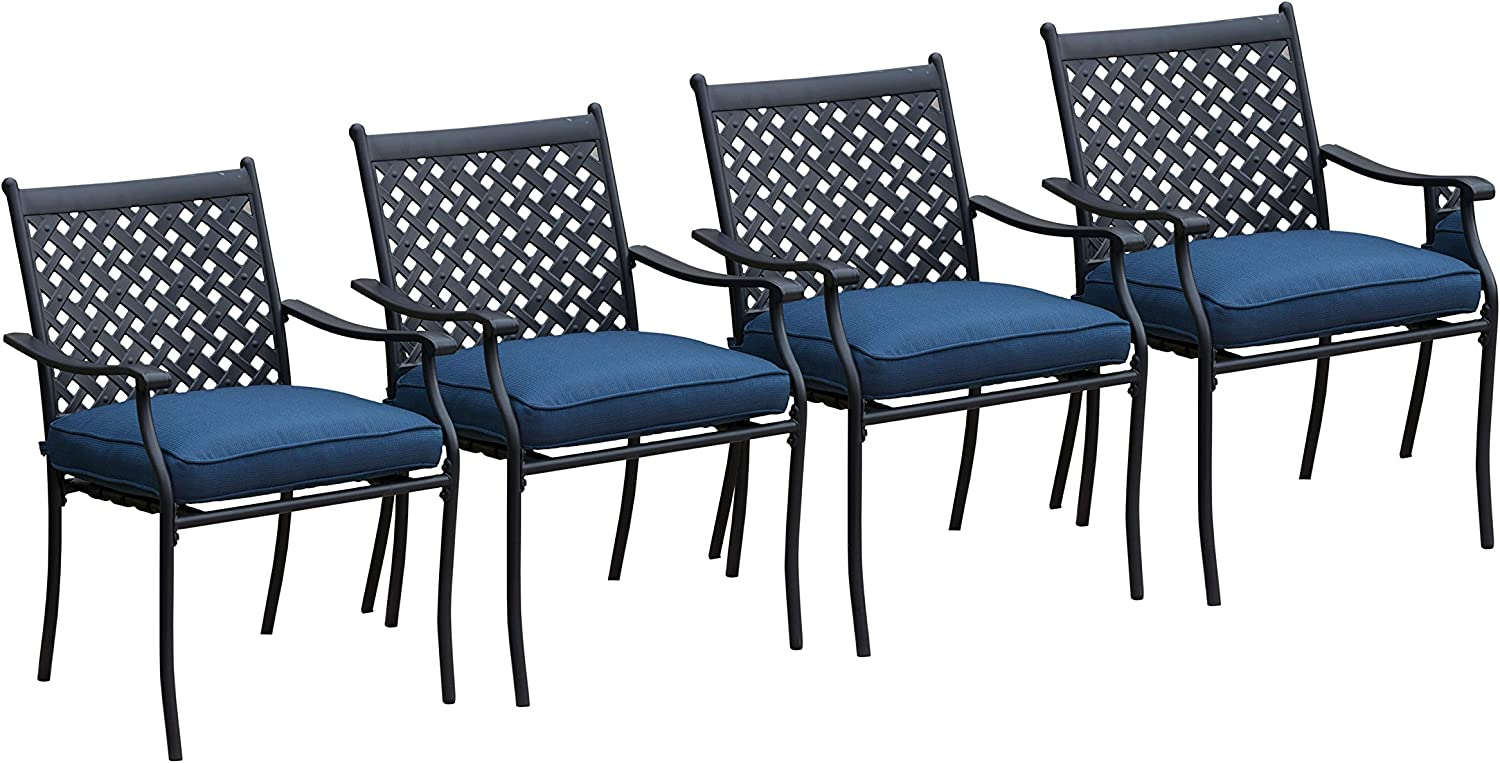 LOKATSE HOME 10 Piece Outdoor Patio Metal Wrought Iron Dining Chair Set with  Arms and Seat Cushions   Blue