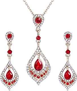 Clearine Women's Wedding Bridal Crystal Art Deco Teardrop Chandelier Pendant Necklace Dangle Earrings Set