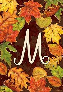 Briarwood Lane Fall Leaves Monogram Letter M Garden Flag Autumn 12.5