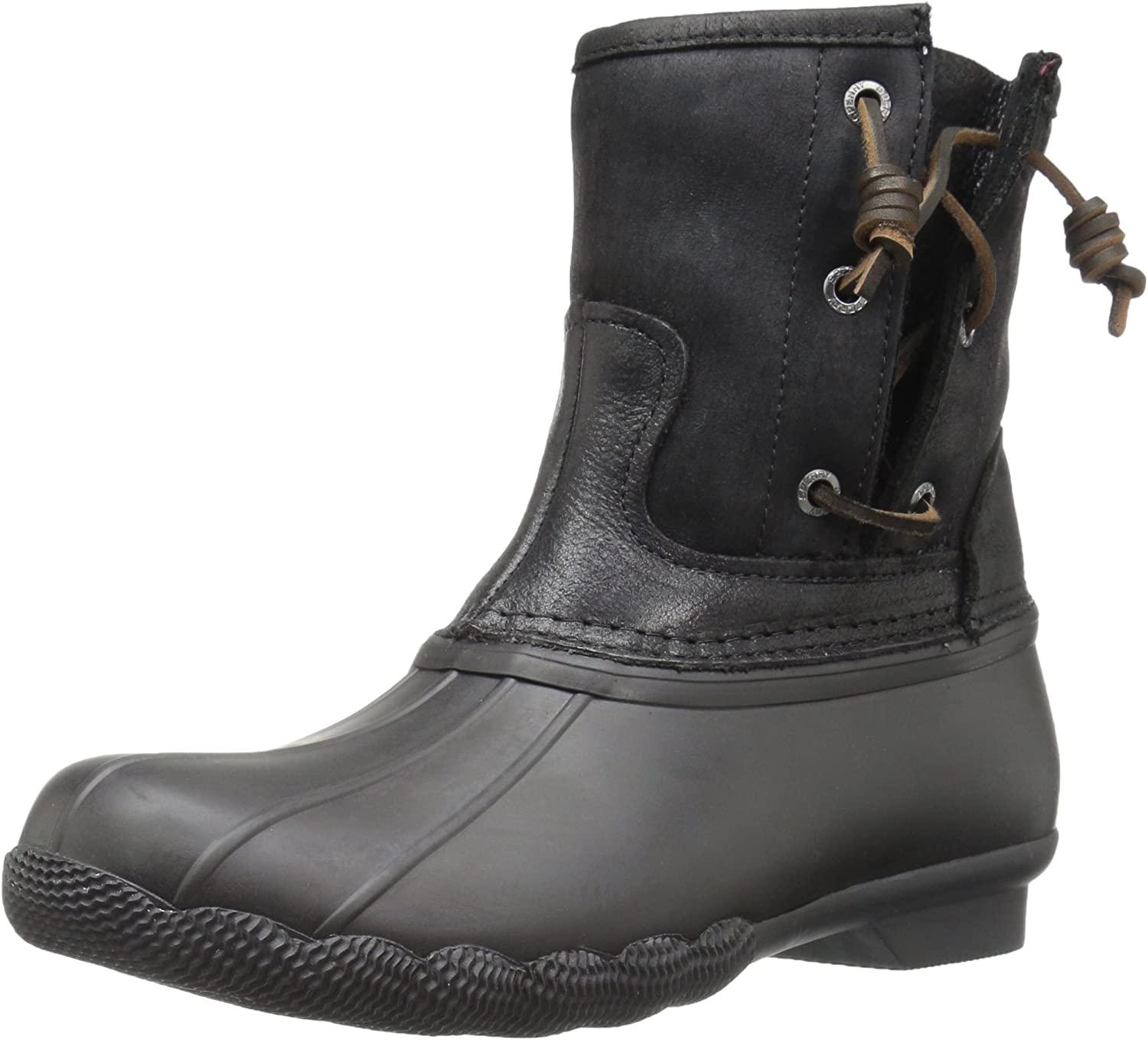 Sperry Women's Saltwater Pearl Leather Rain Boots Grey