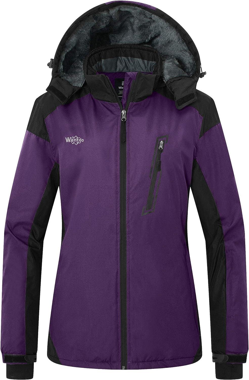 Wantdo Women's Waterproof Ski Fleece Jacket Windproof Winter Coat Hooded Raincoat Insulated Mountain Windbreaker