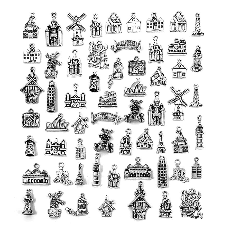 Famous Buildings Travel Theme Charms, JIALEEY Wholesale Bulk Lots Alloy House Charms Pendants DIY for Jewelry Making and Crafting, Antique Silver 61PCS