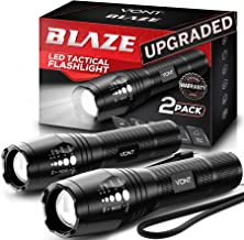 Vont LED Tactical Flashlight [2 Pack] 2X Longer Battery Life, 5 Modes, High Lumen, Adjustable, Zoomable,Waterproof, Lightweight,Bright Flashlights/Flash Light Gear/Accessories/Supplies for Camping
