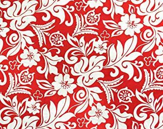 Trendtex Fabrics Hawaiian Tropical Monotone Florals and Leaves Red Cotton Poplin by The Yard