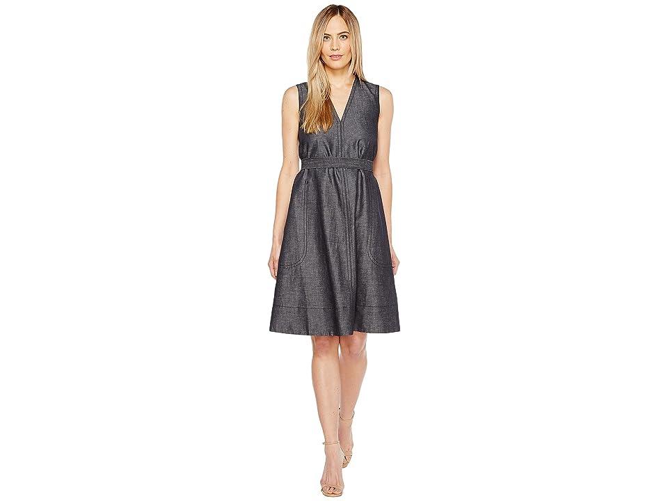 Ellen Tracy Belted Fold Dress (Indigo Denim-Face) Women