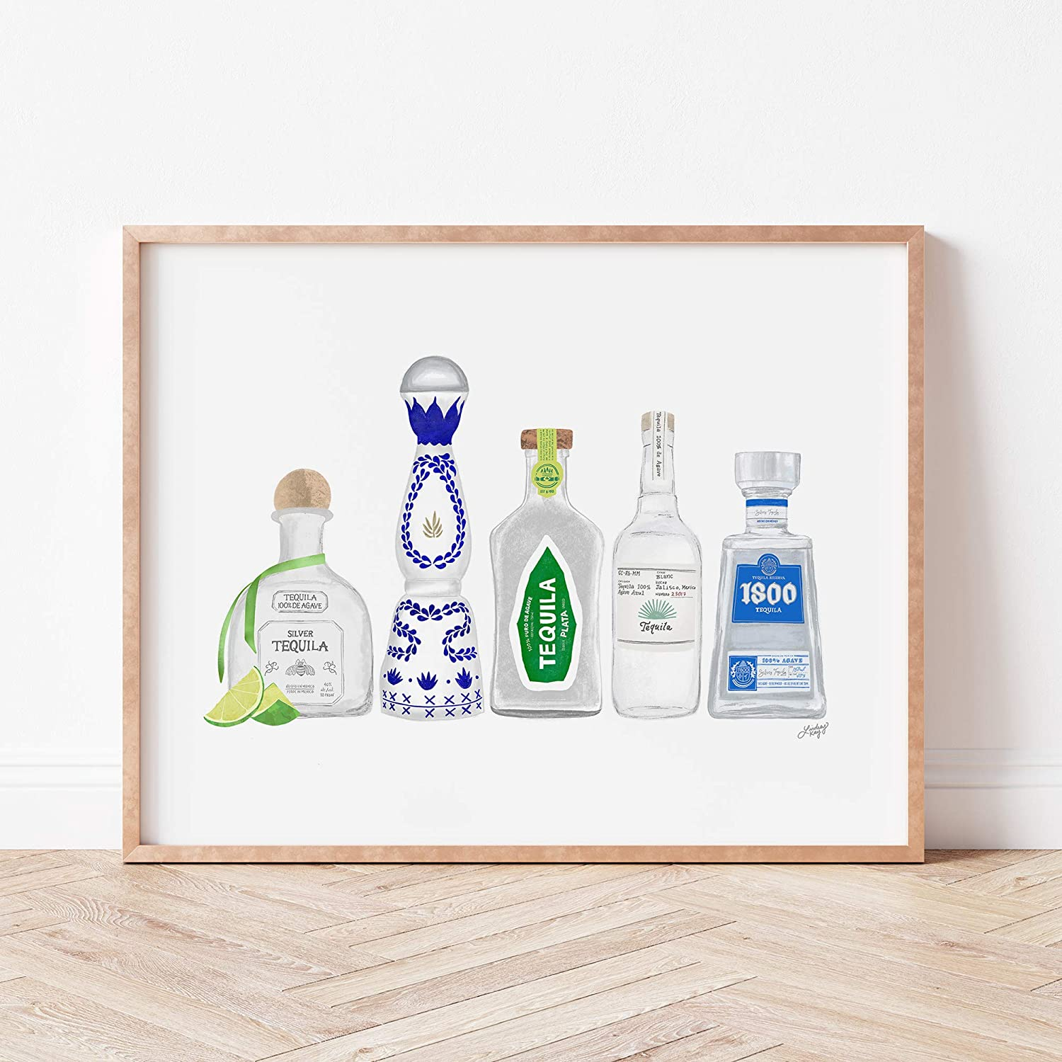 Tequile Bottles Illustration Wall Do Opening large Sales results No. 1 release sale Print Art Poster