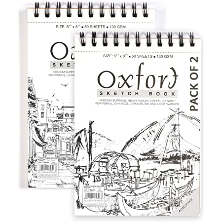 Atrangi Store Anupam Oxfort Sketch Book A5 Drawing Notebook for Artists Students -50 Sheets 140 GSM (Set of 2)
