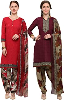 Rajnandini Women's Red And Wine Crepe Printed Unstitched Salwar Suit Material (Combo Of 2) (Free Size)