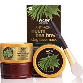 WOW Skin Science Anti-Acne Neem & Tea Tree Clay Face Mask for Refreshing & Refining Acne Prone Skin - For All Skin Types - No Parabens, Sulphate & Mineral Oil - 200mL