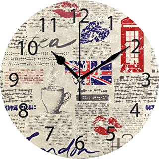 YATELI Wall Clock Shelf Round 10 Inch Diameter Newspaper UK London Coffee Red Lip Silent Decorative for Home Office Bedroom