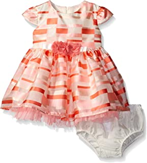 Bonnie Baby Girls' Short Sleeve Striped Plaid Organza Party Dress with