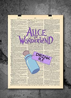 Alice In Wonderland Color Art Print - Drink Me - Alice In Wonderland Wall Art - Vintage Art - Authentic Upcycled Dictionary Art Print - Home or Office Decor - Inspirational And Motivational Quote Art
