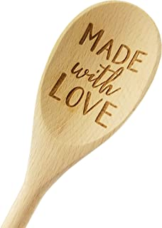 """Wedding Collectibles Made With Love Wooden Spoon (14"""" Long) Engraved Serving Kitchen Accessory 